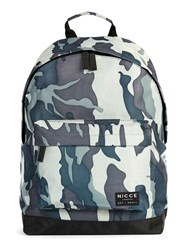 Topman Nicce Blue And Light Khaki Camo Backpack Green