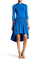 Go Couture Mock Neck Gathered Hi Lo Dress Blue