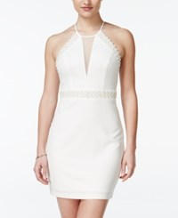 Teeze Me Juniors' Embellished Illusion Sheath Dress Cream