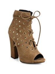 Giuseppe Zanotti Studded Suede Lace Up Peep Toe Booties Luggage Black