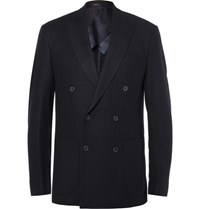 Hardy Amies Blue Slim Fit Double Breasted Cashmere Blazer Navy