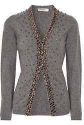 Valentino Crystal Embellished Wool And Cashmere Blend Cardigan Gray