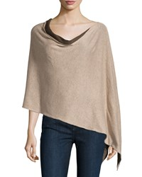 Minnie Rose Reversible Cotton Poncho Taupe Cigar