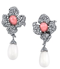 Arunashi Conch And Clam Pearl Flower Earrings White