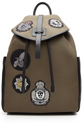 Alexander Mcqueen Cotton Backpack With Embellished Badges Green