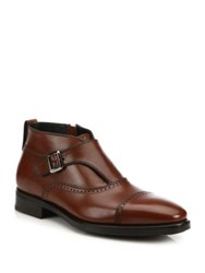 Salvatore Ferragamo Maite 2 Monk Strap Leather Ankle Boots