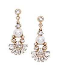 Gerard Yosca Faceted Crystal Faux Pearl Drop Earrings Gold