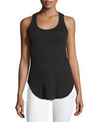 Jethro Ribbed Scoop Neck Cotton Tank Top Black