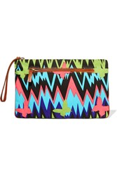 M Missoni Leather Trimmed Printed Canvas Clutch Black