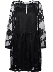 See By Chloe Floral Embroidered Mesh Dress Black