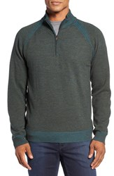 Robert Graham Men's Jovanni Wool Quarter Zip Sweater Heather Forest