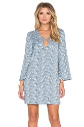 Lucca Couture Bell Sleeve Lace Up Shift Dress Blue