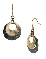 Kenneth Cole Two Tone Sculptural Double Drop Earrings Black Gold