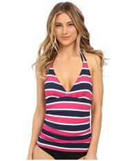 Tommy Bahama Nautical Double Strap Halter Tankini Mare Navy Women's Swimwear