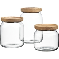 Acacia And Glass Canisters In Food Storage Crate And Barrel