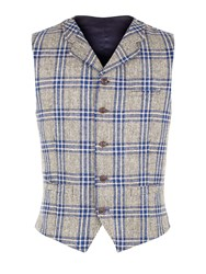 Gibson Men's Taupe With Bold Blue Check Vest Taupe