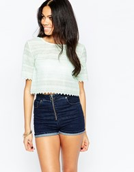 Daisy Street Lace Crop Top With Scalloped Edge Mint Green