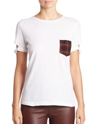 Helmut Lang Cotton Plaid Pocket Tee White Black
