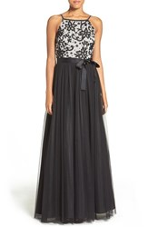 Aidan Mattox Women's Embellished Bodice Sleeveless A Line Gown Silver Black