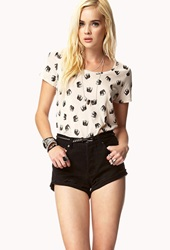 Forever 21 Elephant Print Tee Taupe Black