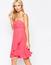 Traffic People Chiffon Bold Prom Dress With Bandeau Top Pink
