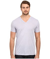 John Varvatos Short Sleeve Knit V Neck With Pintuck Seam Details K2163s1l Wisteria Men's Short Sleeve Pullover Purple