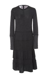 Oscar De La Renta Long Sleeve Knit Dress Dark Grey