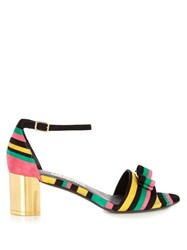 Salvatore Ferragamo Gavina Rainbow Striped Suede Sandals Multi