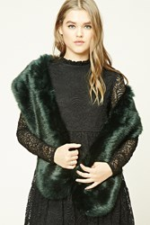 Forever 21 Faux Fur Oblong Scarf Green