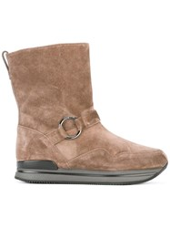 Hogan Buckled Boots Nude Neutrals