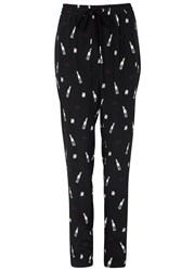 Markus Lupfer Powder Room Printed Silk Trousers Black