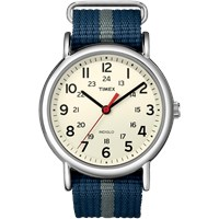 Timex Weekender Slip Thru Watch Cream Blue And Grey