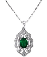 Effy Collection Brasilica By Effy Emerald 1 1 8 Ct. T.W. And Diamond 1 6 Ct. T.W. Pendant Necklace In 14K White Gold