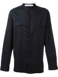 Isabel Benenato Granddad Collar Button Down Shirt Black