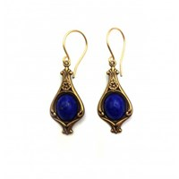 Zt Victorian Style With Lapis Blue Stone Earrings
