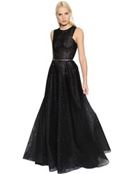 John Richmond Embellished Tulle And Gauze Gown
