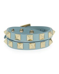 Valentino Rockstud Double Wrap Leather Bracelet Water Rose