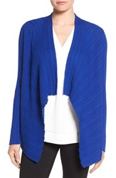 Chaus Women's Ribbed Drape Front Cardigan Wild Blue