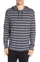 Lacoste Men's Stripe Long Sleeve Hooded T Shirt Navy Blue Mouline Cosmos