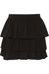 Alice Olivia Reina Tiered Stretch Silk Mini Skirt Black