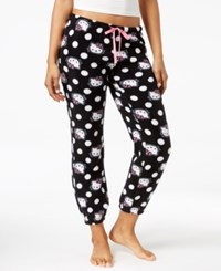 Hello Kitty Plush Jogger Pajama Pants Black White Dot
