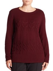Lafayette 148 New York Cashmere Cable Knit Sweater Cabernet