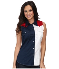 Roper Americana Pieced Color Block Top Blue Women's Sleeveless