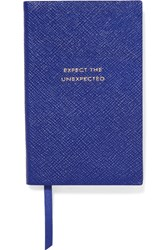 Smythson Panama Expect The Unexpected Textured Leather Notebook Cobalt Blue