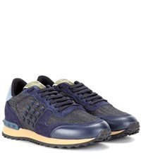 Valentino Rockrunner Denim Leather And Suede Sneakers Blue