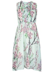 Tenki Sleeveless Flower Print Midi Dress Green