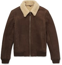 Nn.07 Rowan Hearling Lined Uede Bomber Jacket Brown