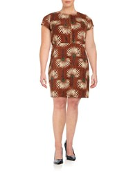 Modamix Plus Printed Corduroy Shift Dress Brown