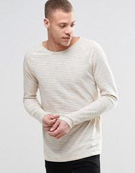 Nudie Jeans Otto Stripe Long Sleeve Top Slub In Off White Blue Offwhite Blue