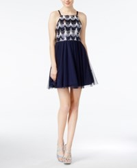 As U Wish Juniors' Sequined Tulle A Line Dress Navy White Silver